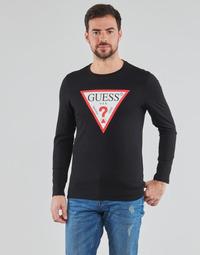 Kleidung Herren Langarmshirts Guess CN LS ORIGINAL LOGO TEE Schwarz