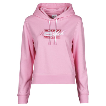 Kleidung Damen Sweatshirts Tommy Jeans TJW CROPPED TOMMY FLAG HOODIE Rose
