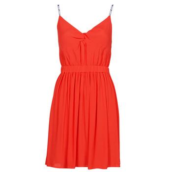 Kleidung Damen Kurze Kleider Tommy Jeans TJW ESSENTIAL STRAP DRESS Rot
