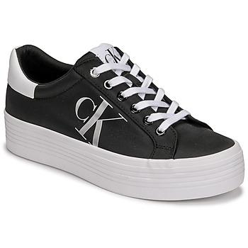 Schuhe Damen Sneaker Low Calvin Klein Jeans VULCANIZED FLATFORM LACEUP NY Schwarz