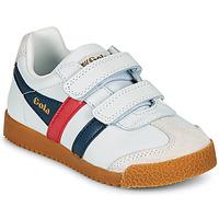 Schuhe Kinder Sneaker Low Gola HARRIER LEATHER VELCRO Weiss / Marine / Rot