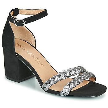 Schuhe Damen Sandalen / Sandaletten Karston POMELOS Schwarz / Silbern