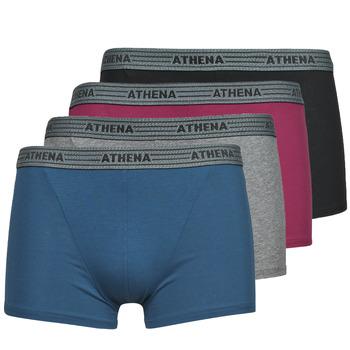 Unterwäsche Herren Boxer Athena BASIC COTON  X4 Grau / Bordeaux / Blau / Schwarz