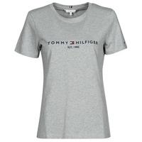 Kleidung Damen T-Shirts Tommy Hilfiger TH ESS HILFIGER C-NK REG TEE SS Grau