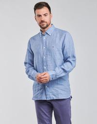 Kleidung Herren Langärmelige Hemden Tommy Hilfiger PIGMENT DYED LINEN SHIRT Blau