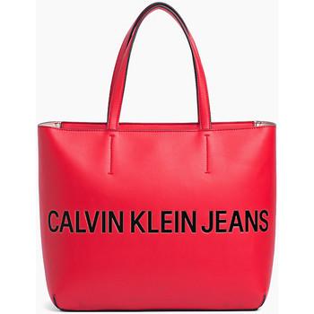 Taschen Damen Shopper / Einkaufstasche Calvin Klein Jeans Logo sculpté zippé Rot