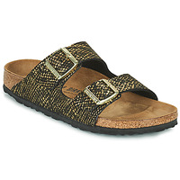 Schuhe Damen Pantoffel Birkenstock ARIZONA Schwarz / Gold