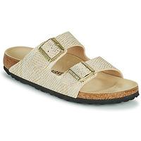 Schuhe Damen Pantoffel Birkenstock ARIZONA Gold / Weiss