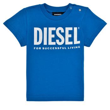 Kleidung Jungen T-Shirts Diesel TJUSTLOGOB Blau