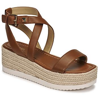 Schuhe Damen Sandalen / Sandaletten MICHAEL Michael Kors LOWRY WEDGE Cognac