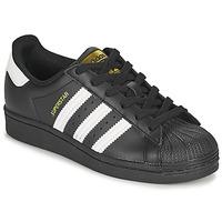 Schuhe Kinder Sneaker Low adidas Originals SUPERSTAR J Schwarz / Weiss
