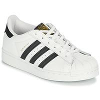 Schuhe Kinder Sneaker Low adidas Originals SUPERSTAR C Weiss / Schwarz