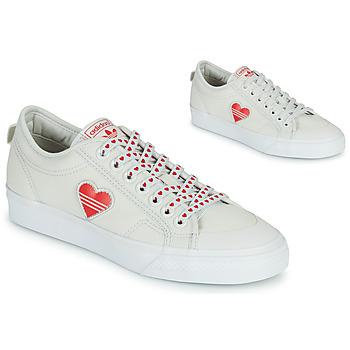 Schuhe Damen Sneaker Low adidas Originals NIZZA  TREFOIL W Weiss / Rot