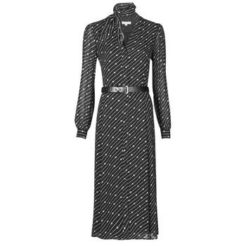 Kleidung Damen Maxikleider MICHAEL Michael Kors CIRCLE LOGO SHRT DRS Schwarz / Weiss