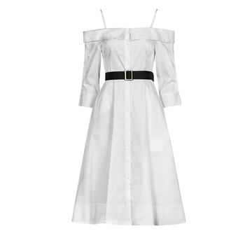Kleidung Damen Maxikleider Karl Lagerfeld COLDSHOULDERSHIRTDRESS Weiss