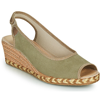 Schuhe Damen Leinen-Pantoletten mit gefloch Damart 43775 Kaki