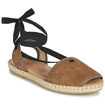 Schuhe Damen Leinen-Pantoletten mit gefloch Musse & Cloud ONDARA Maulwurf