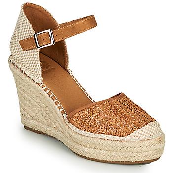 Schuhe Damen Leinen-Pantoletten mit gefloch Xti SPARROW Cognac