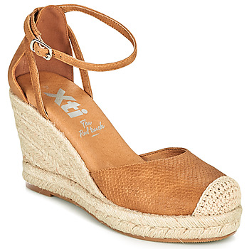 Schuhe Damen Leinen-Pantoletten mit gefloch Xti NINA Cognac