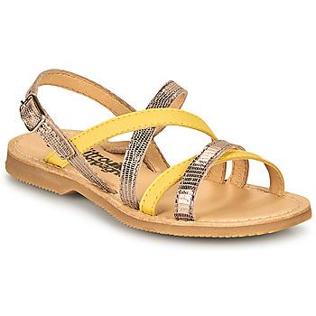 Schuhe Mädchen Sandalen / Sandaletten Citrouille et Compagnie GENTOU Gelb / Silbern