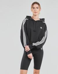 Kleidung Damen Sweatshirts adidas Originals SHORT HOODIE Schwarz