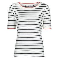 Kleidung Damen T-Shirts Esprit RAYURES COL ROUGE Weiss