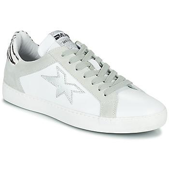 Schuhe Damen Sneaker Low Meline KUC256 Weiss / Silbern / Olive / gelb