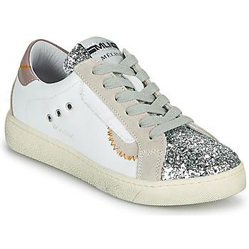 Schuhe Damen Sneaker Low Meline CAR139 Weiss / Glitterfarbe