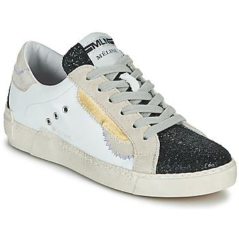 Schuhe Damen Sneaker Low Meline NKC139 Weiss / Glitterfarbe / Schwarz