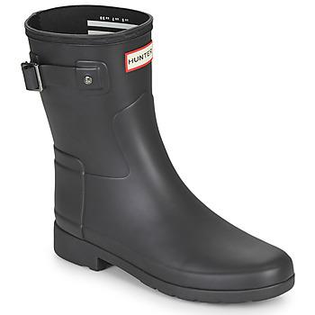 Schuhe Damen Gummistiefel Hunter ORIGINAL REFINED SHORT Schwarz