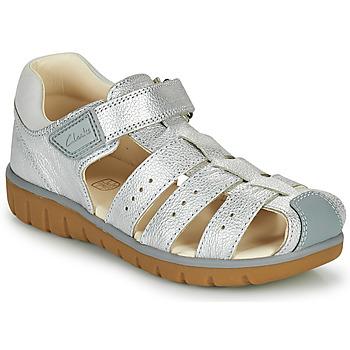 Schuhe Mädchen Sandalen / Sandaletten Clarks ROAM BAY K Silbern