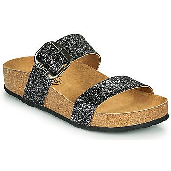 Schuhe Damen Pantoffel Plakton ROCK Schwarz