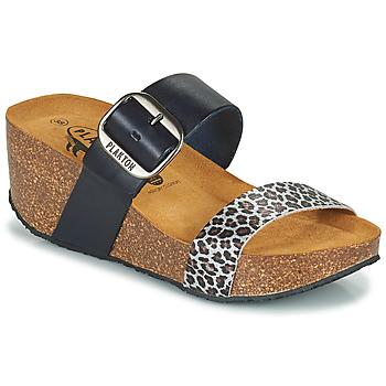 Schuhe Damen Pantoffel Plakton SO ROCK Blau / Leopard