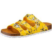 Schuhe Damen Pantoffel Lico Bioline Leave gelb