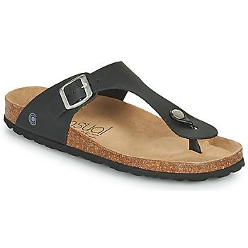 Schuhe Damen Zehensandalen Casual Attitude OXOA Schwarz