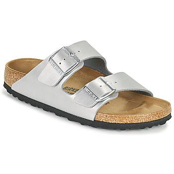 Schuhe Damen Pantoffel Birkenstock ARIZONA Silbern