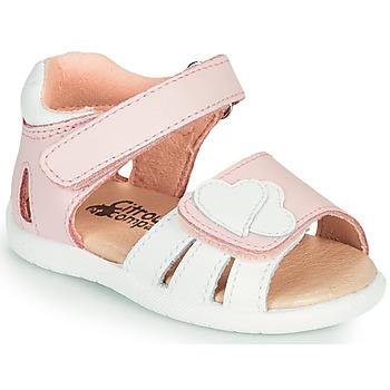 Schuhe Mädchen Sandalen / Sandaletten Citrouille et Compagnie OLESS Rose / Weiss