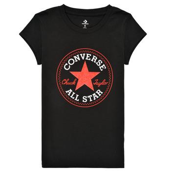 Kleidung Mädchen T-Shirts Converse TIMELESS CHUCK PATCH TEE Schwarz