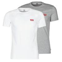 Kleidung Herren T-Shirts Levi's 2PK CREWNECK GRAPHIC Pack / Weiss / Braun / orange / gelb / Grau