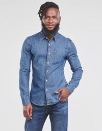 Kleidung Herren Langärmelige Hemden Levi's SUNSET 1 PKT SLIM Blau