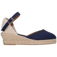 Schuhe Damen Leinen-Pantoletten mit gefloch Fernandez 682 3C marino Mujer Azul marino bleu