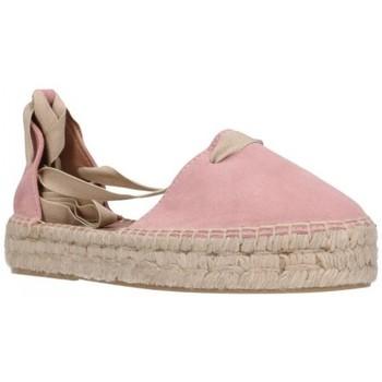 Schuhe Damen Leinen-Pantoletten mit gefloch Carmen Garcia 92D30 Antique Mujer Marron rose