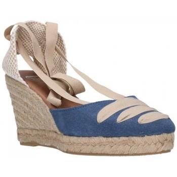 Schuhe Damen Leinen-Pantoletten mit gefloch Carmen Garcia 41s7 Iris Mujer Azul bleu