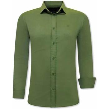 Kleidung Herren Langärmelige Hemden Tony Backer Klassische Slim Grün