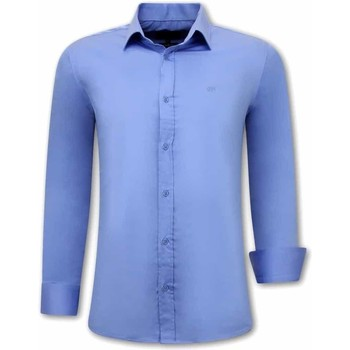Kleidung Herren Langärmelige Hemden Tony Backer Klassische Slim Blau