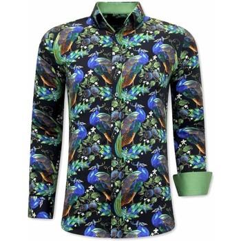 Kleidung Herren Langärmelige Hemden Tony Backer Premiere Paisley Hemd Schwarz, Grün