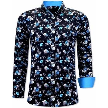 Kleidung Herren Langärmelige Hemden Tony Backer  Schwarz, Blau