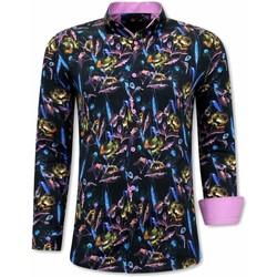 Kleidung Herren Langärmelige Hemden Tony Backer Paisley  Pink Schwarz, Rosa
