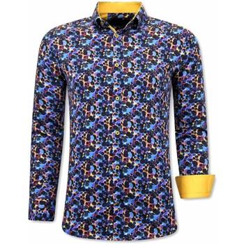 Kleidung Herren Langärmelige Hemden Tony Backer Paisley Blau, Gelb