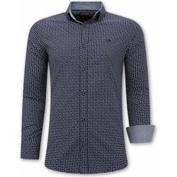 Kleidung Herren Langärmelige Hemden Tony Backer Bedruckte Blau